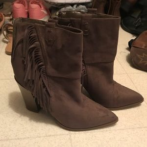 Grey Fringe Booties